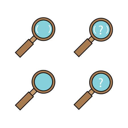 magnifying glass, magnifier vector icon set cartoon design