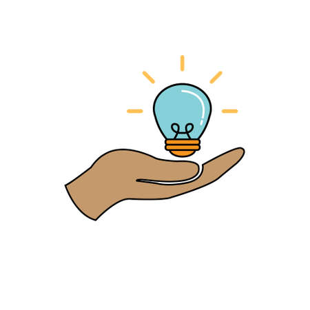 Light bulb on hand illumination vector icon, help with an idea, innovation Stock fotó - 144711680