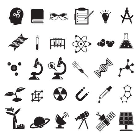 Science vector icon set, education chemistry, physics, biology icons like solar panel, microscope, syringe, DNA molecule and others Vecteurs