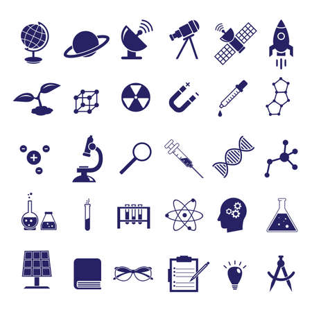 Science vector icon set, education chemistry, physics, biology icons like solar panel, microscope, syringe, DNA molecule and others Stock fotó - 144711685