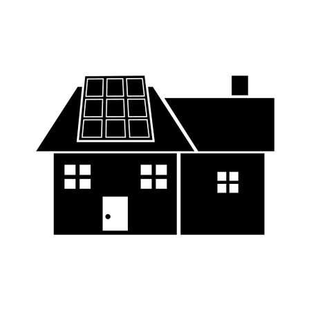 Solar panel on house renewable energy vector icon