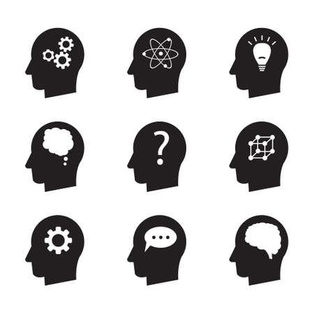 Man head mind thinking vector icon set