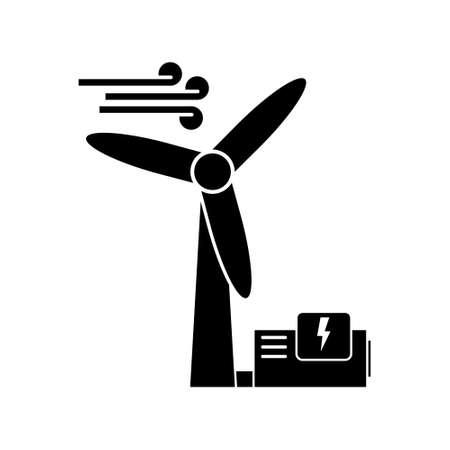 Wind turbine with power generator, renewable energy vector icon
