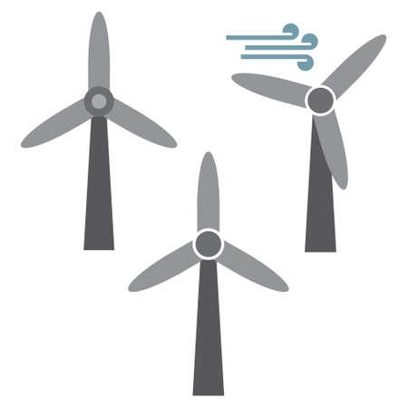 Wind turbine, renewable energy vector icon set