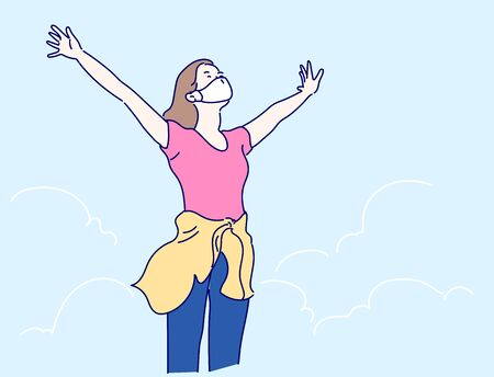 Happy woman with open arms stay on the peak of the mountain. Motivation concept. Hand drawn in thin line style, vector illustrations. Vector Illustration