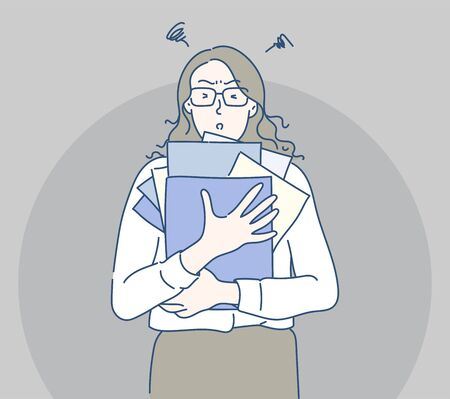 Business woman holding folder and document papers, she busy and work hard. Hand drawn in thin line style, vector illustrations.