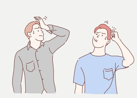 Young man confused and wonder about question. Uncertain with doubt, thinking with hand on head. Pensive concept. Hand drawn in thin line style, vector illustrations.
