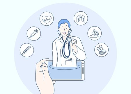 Concept of telemedicine or E-health, useful mobile device tool for managing healthcare service. Hand drawn in thin line style, vector illustrations.