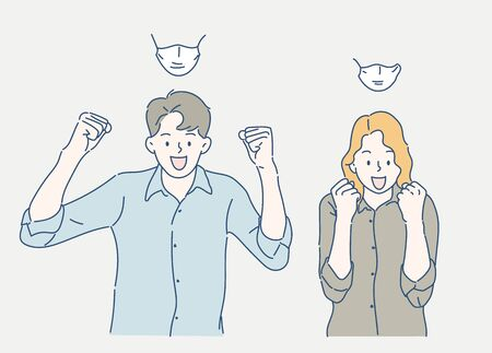 Cheerful man and woman raise his hand confidently, they are wearing medical face masks. Hand drawn in thin line style, vector illustrations. (A Mask can be removable)