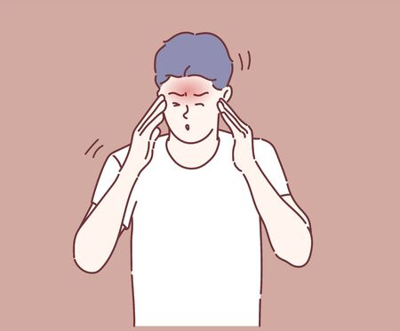 Young man suffering from headache. Hand drawn in thin line style, vector illustrations.