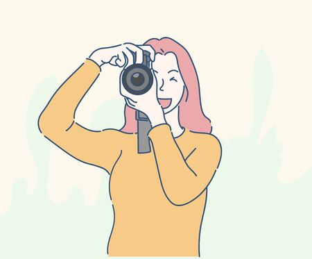 Young woman taking a photo with a camera. Hand drawn in thin line style, vector illustrations.