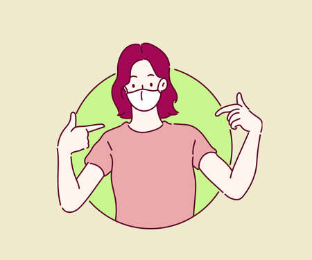 Woman wearing a mask, she looking confident and pointing oneself with fingers proud and happy. Hand drawn in thin line style, vector illustrations. (A Mask can be removable)