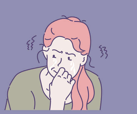 Young woman sad and crying. Hand drawn in thin line style, vector illustrations. Vektorgrafik