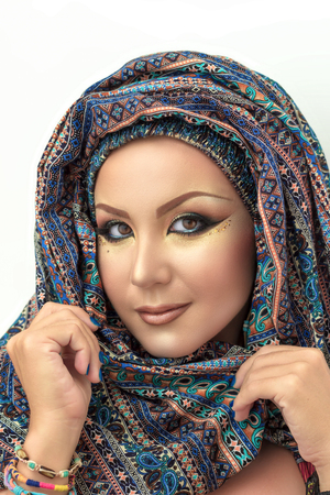 paranja: Portrait beautiful woman, arabic makeup in paranja