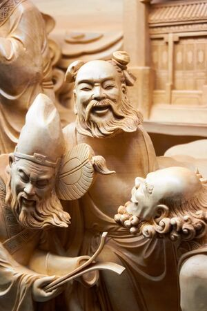 buddist: Chinese vintage statues, sculpture, molded figures. Work of arts. Hand maid, chinese culture. Stone men.
