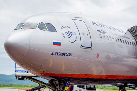 Russia, Vladivostok, 05262017. Fuselage of passenger airplane Airbus A330-300 of of Aeroflot company. This airplane has own name V. Mayakovsky in the honest of famous Russian poet.