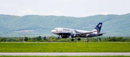 Russia, Vladivostok, 05262017. Passenger airplane Airbus A319 of Aurora company is landing.