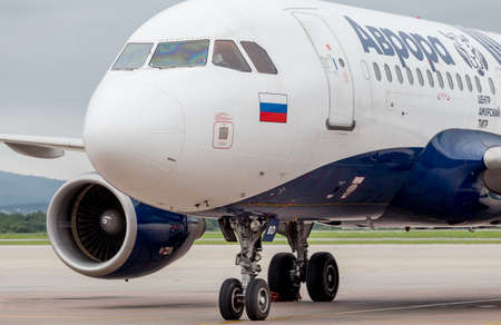 Russia, Vladivostok, 08102018. Passenger airplane Airbus A319 of Aurora Airlines prepares for departure. Aviation and transportation.