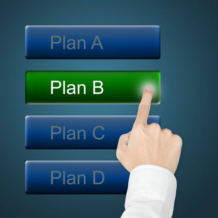 education choice: hand selecting plan by pushing touch screen button Stock Photo