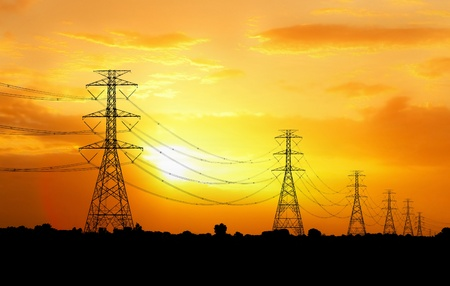 electric pylon at sunset Stock Photo