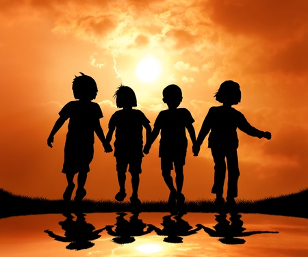 holding hand: group of kids holding hand and walking during sunset