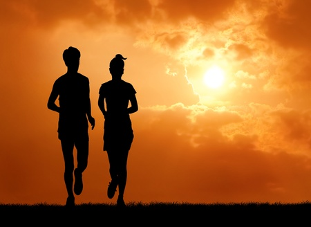 couple of man and woman run together at sunrise photo