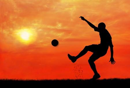 soccer player shooting the ball photo