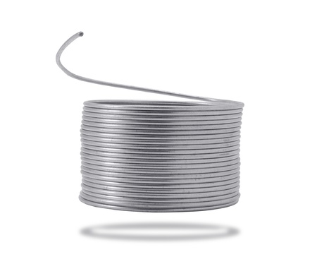 steel cable: coil of galvanized wire Stock Photo
