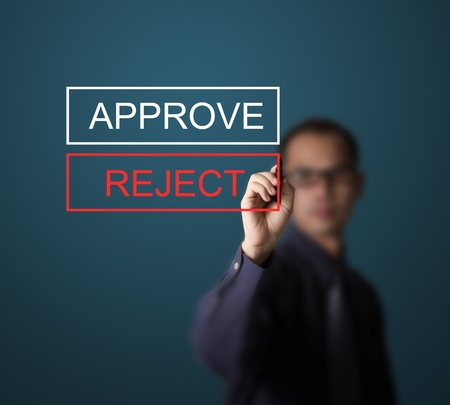 business man selecting rejection photo