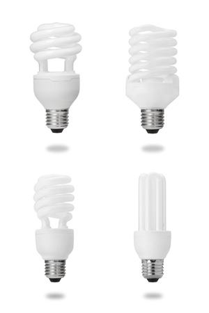 electric bulb: energy saving fluorescent light bulb collection isolated on white Stock Photo