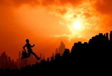 running businessman: business man with confident attempt to climb up urban building stair to higher level at sunrise silhouetted