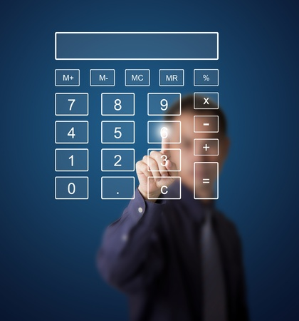 calculator icon: business man pushing number on touch screen digital calculator