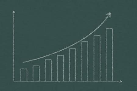 upward trend graph drawing with chalk on chalkboard photo