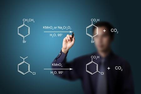 carbondioxide: chemistry teacher writing scientific  formula equation