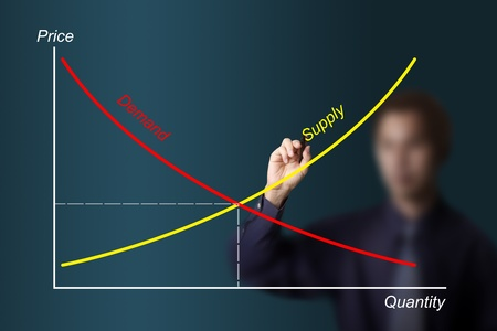 equilibrium: business man drawing economic demand supply graph Stock Photo