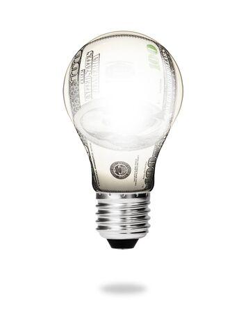 money energy concept - dollar bill light bulb photo