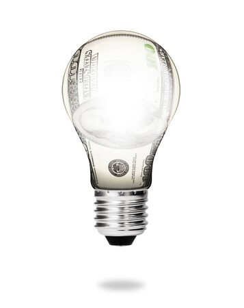 money energy concept - dollar bill light bulb photo