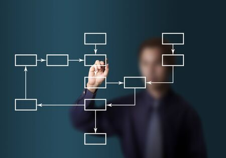 business man drawing flowchart diagram photo