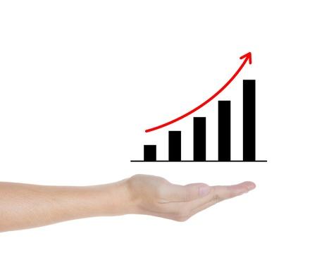 upward trend graph in man hand photo