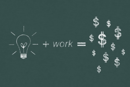 idea and work can make lots of money drawing with chalk on chalkboard photo