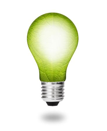 alternating: future  eco energy saving concept, new alternative natural green leaf light bulb isolated Stock Photo