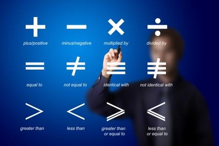 simbolos matematicos: profesor de matemáticas escrito símbolo de las matemáticas