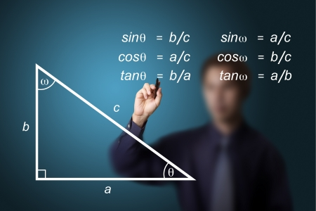 mathematics teacher writing geometry picture and trigonometry calculation equation photo