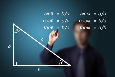 matematica: profesor de matem�ticas escrito geometr�a de la imagen y la ecuaci�n de c�lculo de trigonometr�a