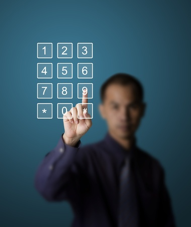 business man pushing number on touch screen mobile phone Stock Photo - 13193835