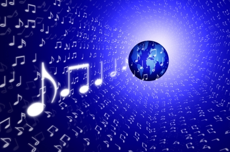 music world concept, blue earth on song note tunnel photo