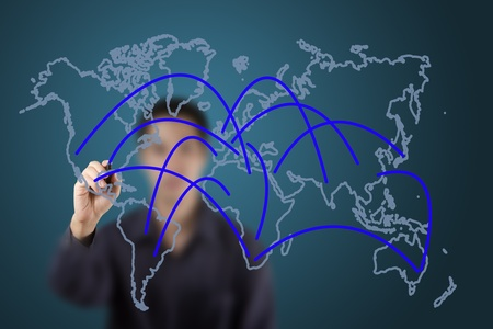 business connection or social network on world draw by a man Stock Photo - 13193980