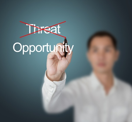eliminate: business man eliminate threat and choose opportunity Stock Photo
