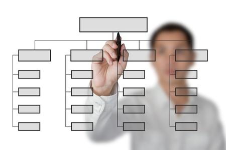 organigrama: hombre de negocios de dibujo de organigrama en el pizarr�n blanco Foto de archivo
