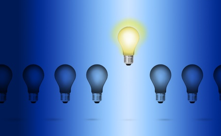 outstanding idea leader concept - bright shine light bulb out of the dark others photo
